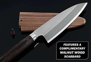 German steel deba knife leaning on a walnut wood scabbard on top of a black granite cutting surface