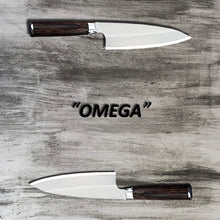 Load image into Gallery viewer, Two 359mm German stainless steel deba knives on a grey wood cutting surface