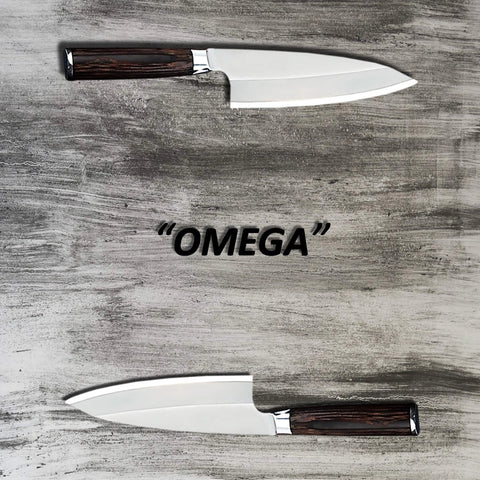 Two 359mm German stainless steel deba knives on a grey wood cutting surface