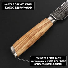 Load image into Gallery viewer, wooden handle of the 330mm damascus santoku knife carved from exotic zebrawood and featuring hand polished stainless steel pommel