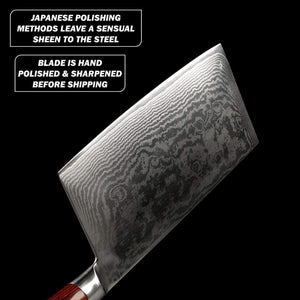 Showing the light reflecting off the Japanese hand-polished blade profile of Masuta's Gamma Cleaver
