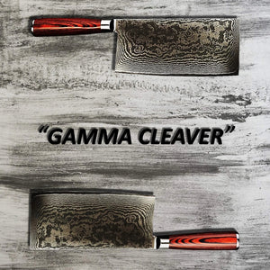 Two of Masuta's Gamma Cleaver products being displayed over a grey wood cutting board
