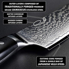 Load image into Gallery viewer, Nakiri blade lying flat and depicting the cutting core forged from Japanese VG10 steel while also showing the different layers of chromium and carbon damascus steel