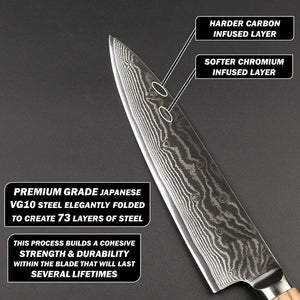 Santoku blade profile with premium grade damascus steel and visible alternating layers of chromium and carbon infused steel