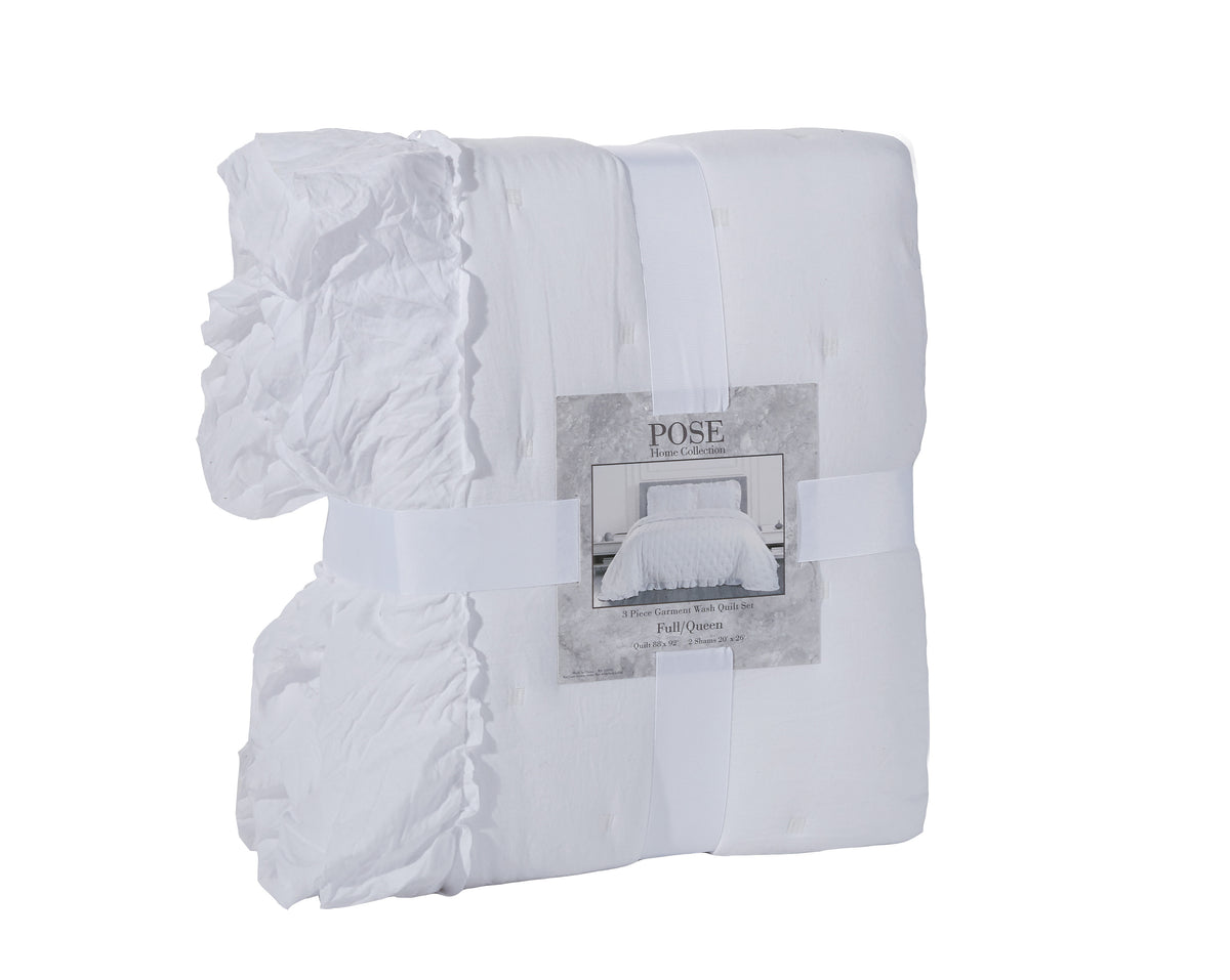 Casual white super soft quilt 3 piece set
