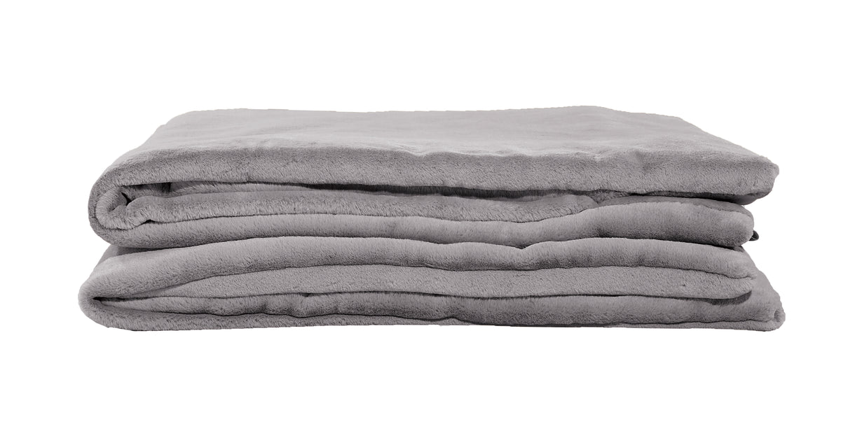 "Weighted Fur Faux Blankets - Silver - 48""X74"""