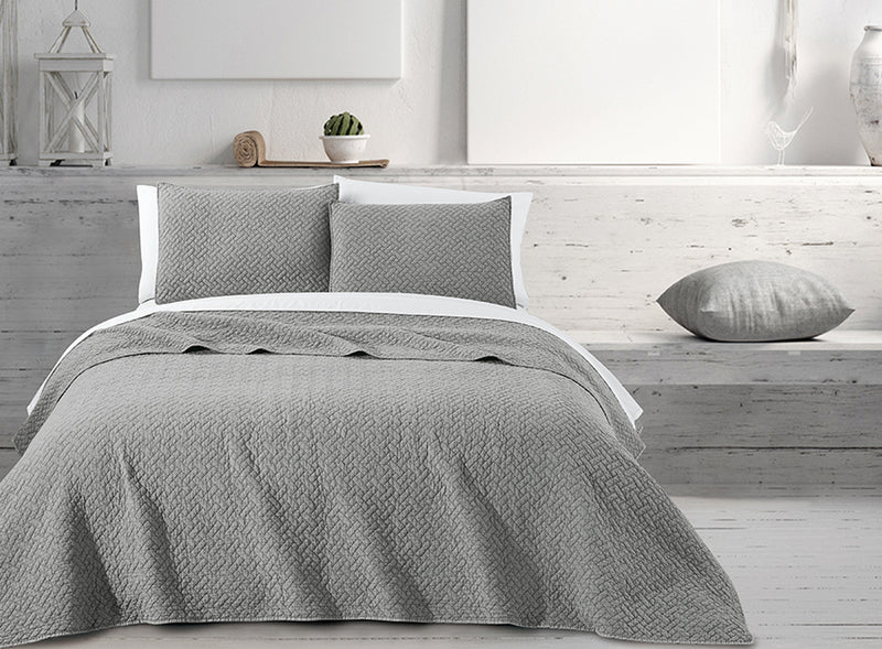 Quilt 3 Piece Set - Stone wash Basket wave grey