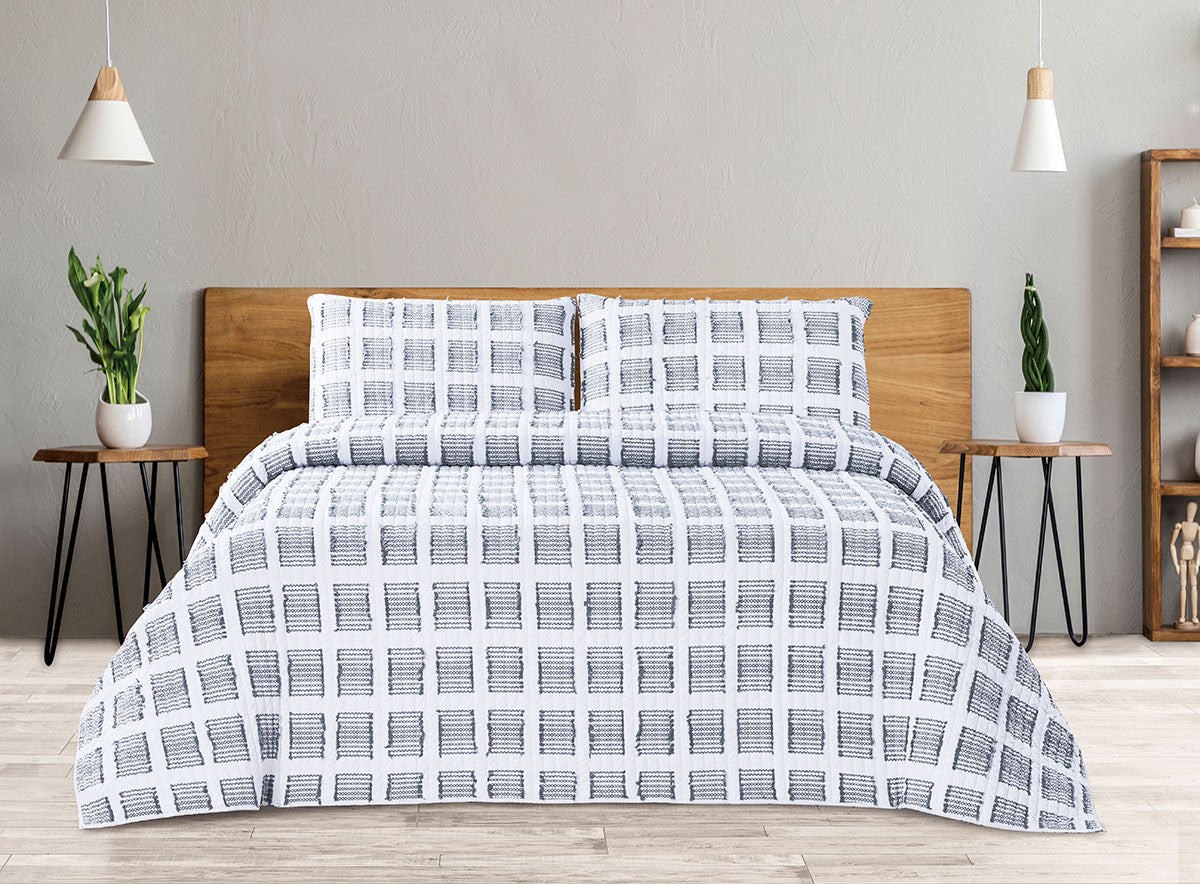 Cotton Quilt 3 Piece Set - Block