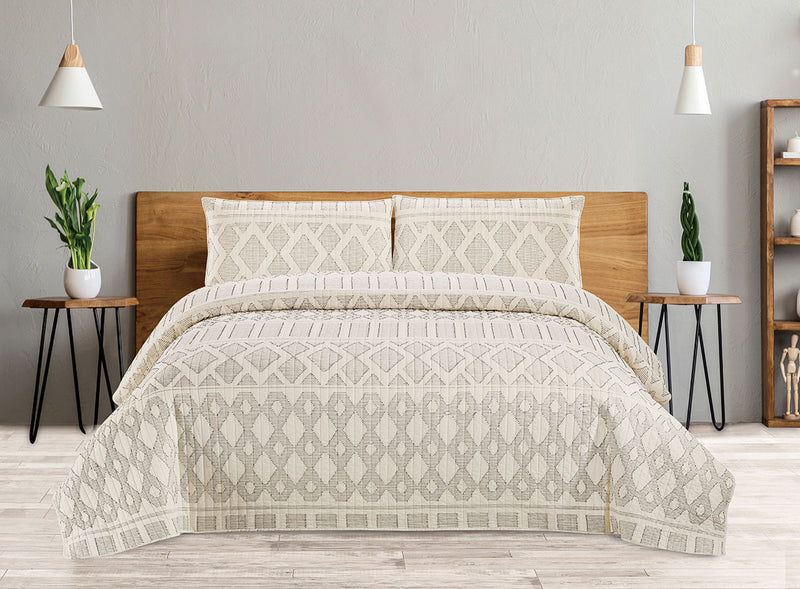 Cotton Quilt 3 Piece Set - Tribal