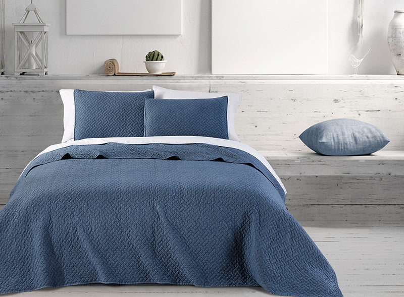 Quilt 3 Piece Set - Stone wash Basket wave denim