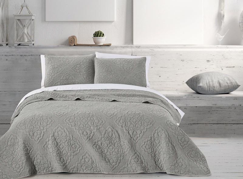 Quilt 3 Piece Set - Stone wash damask grey
