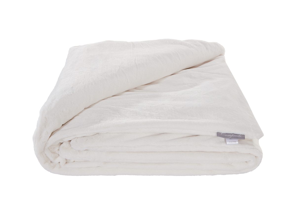 "Weighted Fur Faux Blankets - Cream - 48""X74"""