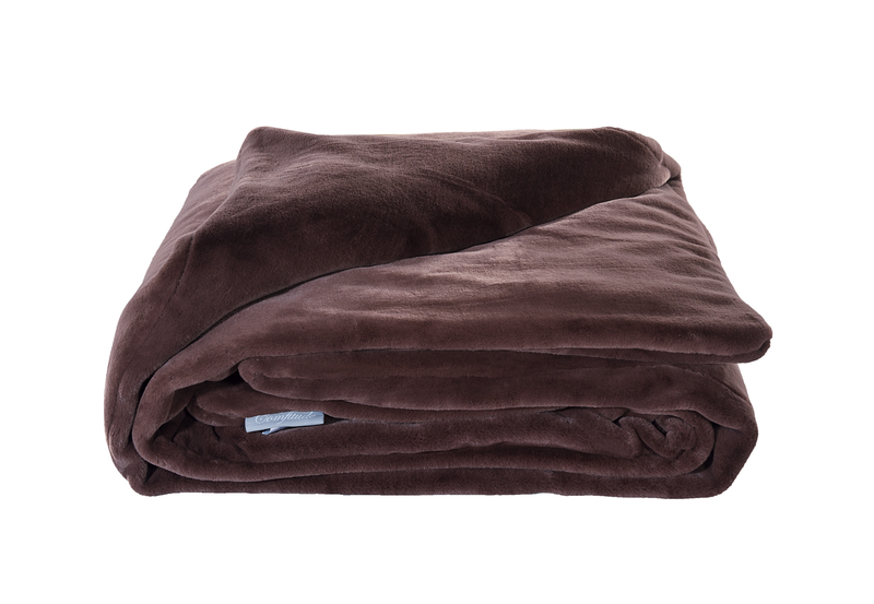 "Weighted Fur Faux Blankets - Mocha - 48""X74"""