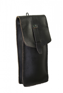 FRENCH BLACK LEATHER POUCH