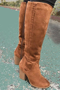 Stacked Heel Knee High Boot