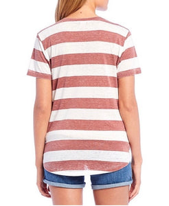 Fornia Striped V Neck