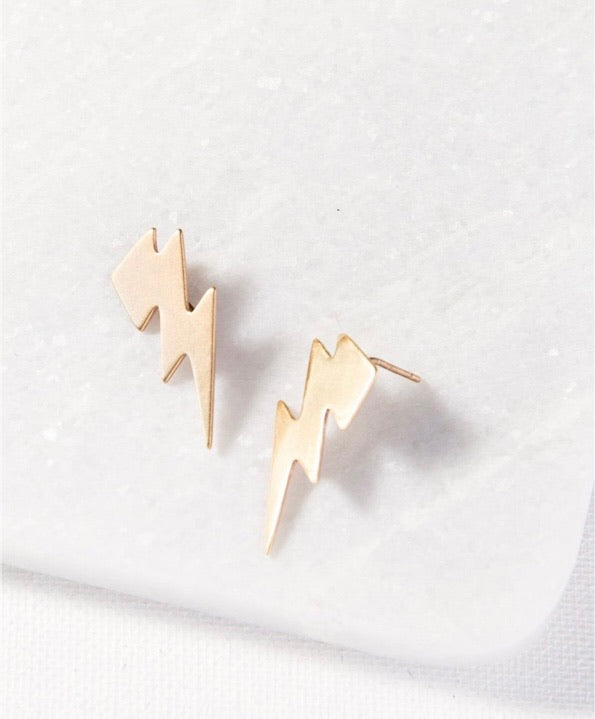 Ink + Alloy Brass Small Thunderbolt Earrings