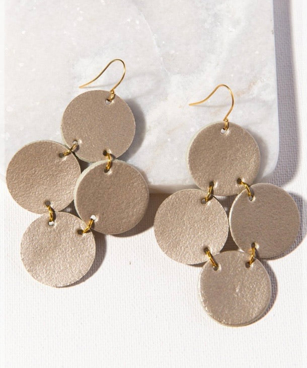 Ink + Alloy Champagne Leather Circles Earring