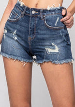 Load image into Gallery viewer, Darcy Dark Distressed Shorts