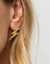 Load image into Gallery viewer, Ink + Alloy Brass Small Thunderbolt Earrings