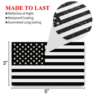 American Flag Black and White Decal (Pack of 3)