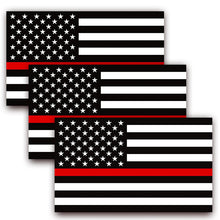 Load image into Gallery viewer, Thin Red Line USA Flag Decal (Pack of 3)