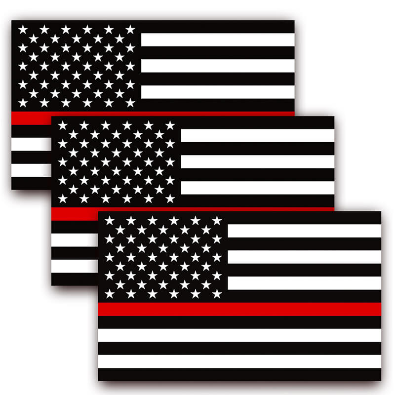 Thin Red Line USA Flag Decal (Pack of 3)