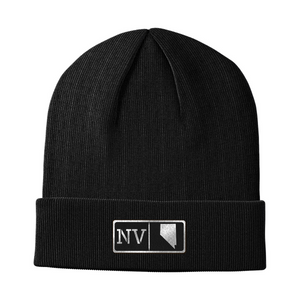Nevada Black Leather Patch Homegrown Beanie