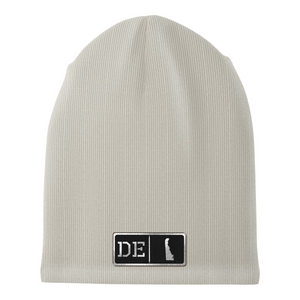 Delaware Black Leather Patch Homegrown Beanie