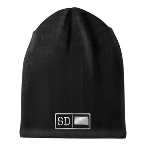 South Dakota Black Leather Patch Homegrown Beanie