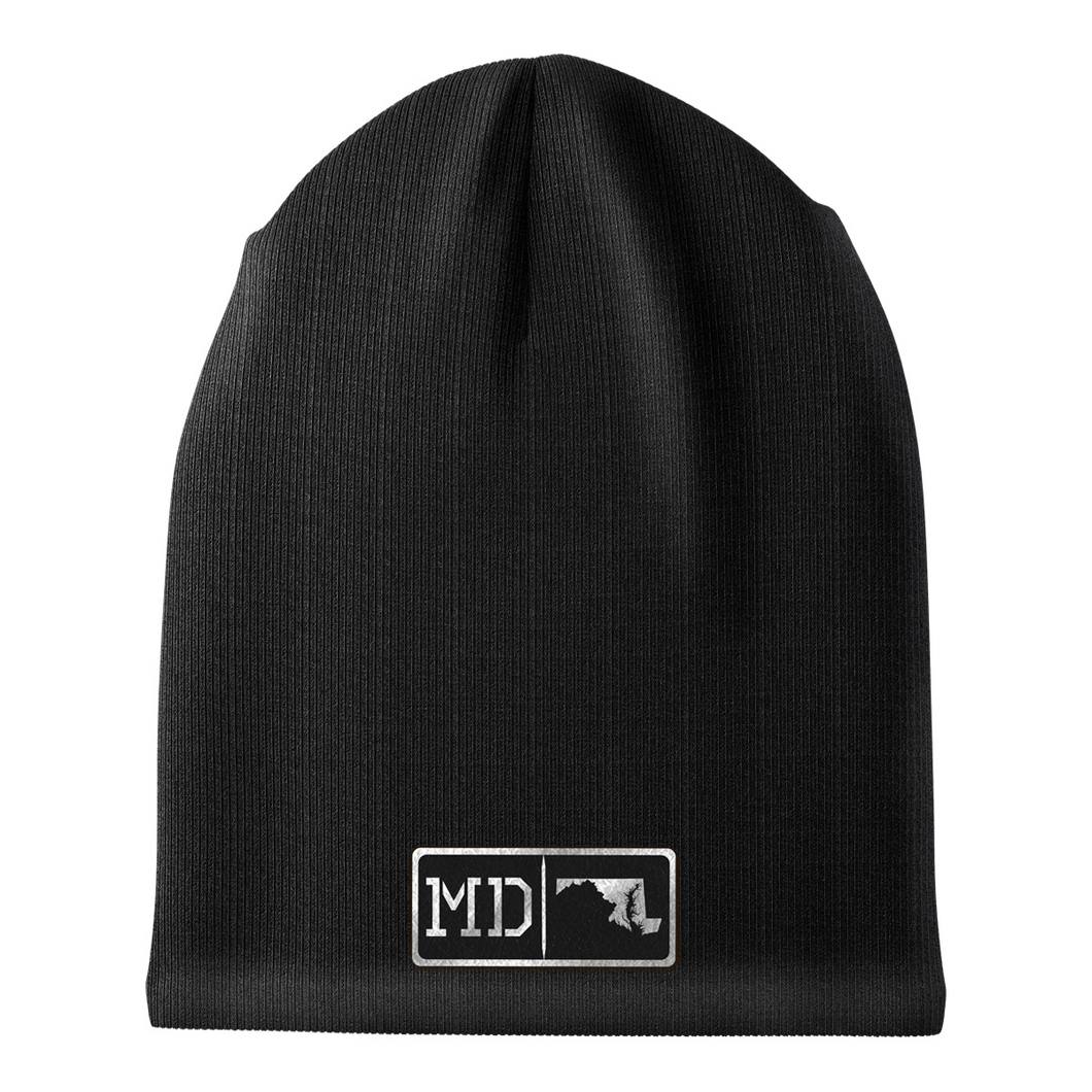 Maryland Black Leather Patch Homegrown Beanie