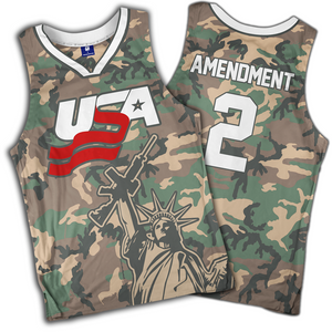 Camo 2nd Amendment Basketball Jersey - Crusader Outlet