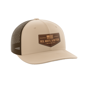 Red, White, and Better Than You Leather Patch Hat - Crusader Outlet