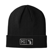 Load image into Gallery viewer, Michigan Black Leather Patch Homegrown Beanie