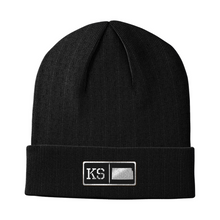 Load image into Gallery viewer, Kansas Black Leather Patch Homegrown Beanie