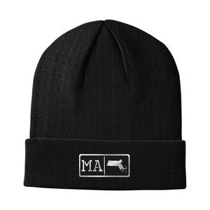 Massachusetts Black Leather Patch Homegrown Beanie