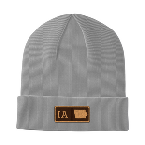 Iowa Leather Patch Homegrown Beanie