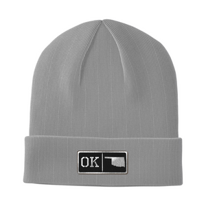 Oklahoma Black Leather Patch Homegrown Beanie