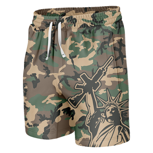Camo Statue of Liberty Swim Trunks - Crusader Outlet