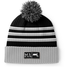 Load image into Gallery viewer, Massachusetts Black Leather Patch Homegrown Beanie