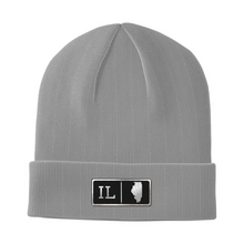 Load image into Gallery viewer, Illinois Black Leather Patch Homegrown Beanie