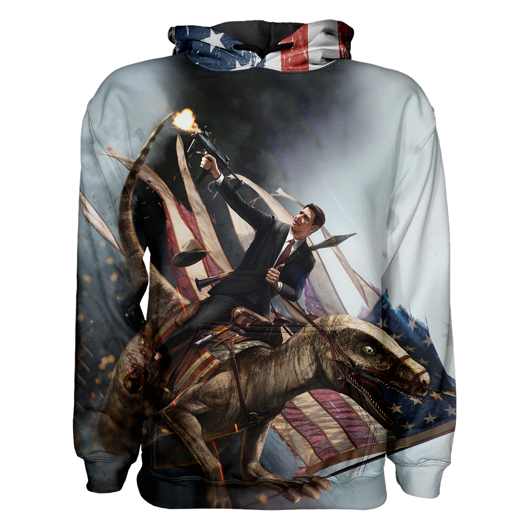 Ronald Reagan Velociraptor ZOOM Hoodie - Crusader Outlet