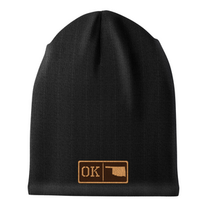 Oklahoma Leather Patch Homegrown Beanie
