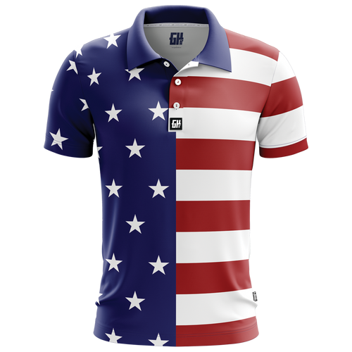 USA Flag Golf Polo - Crusader Outlet