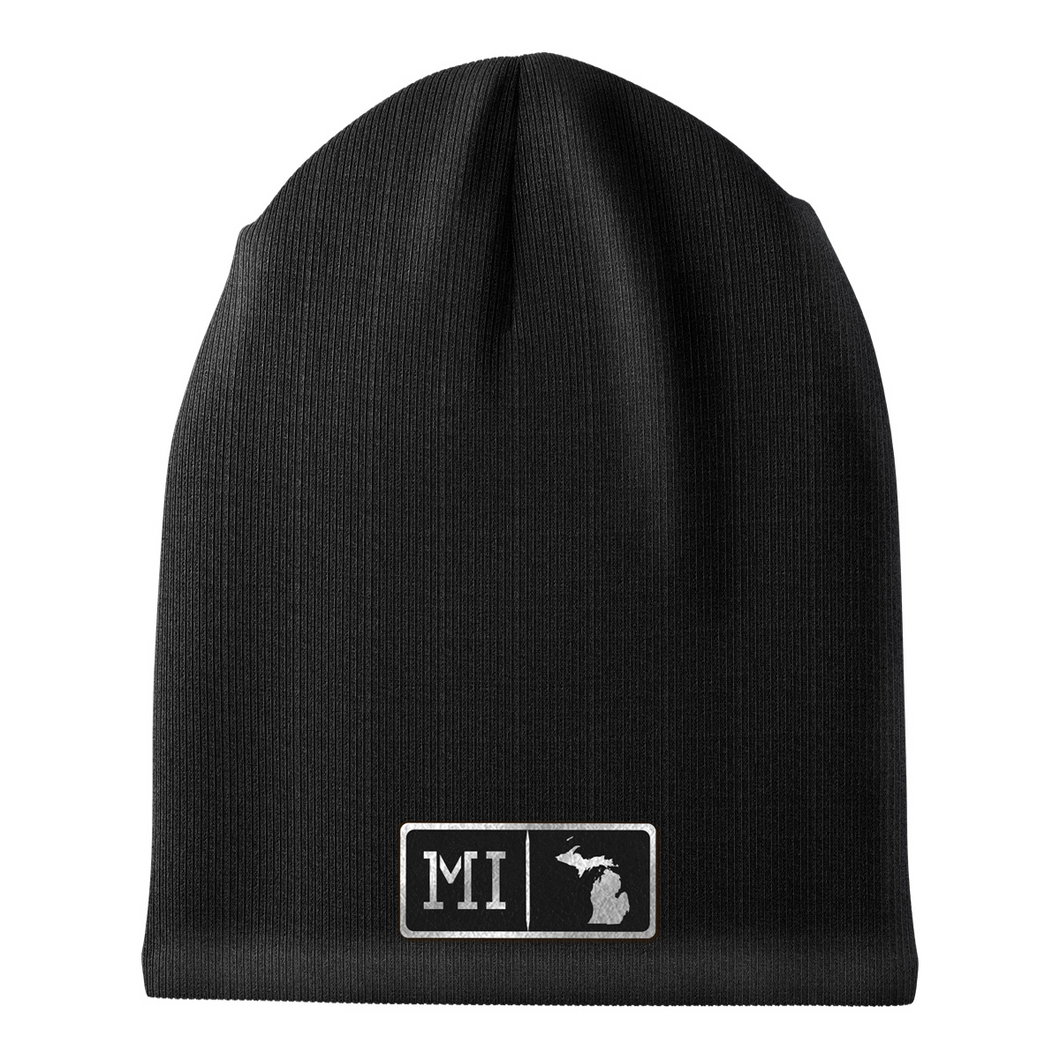 Michigan Black Leather Patch Homegrown Beanie