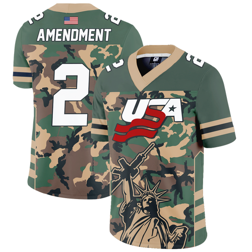 Camo 2nd Amendment Football Jersey - Crusader Outlet
