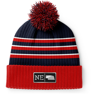Nebraska Black Leather Patch Homegrown Beanie