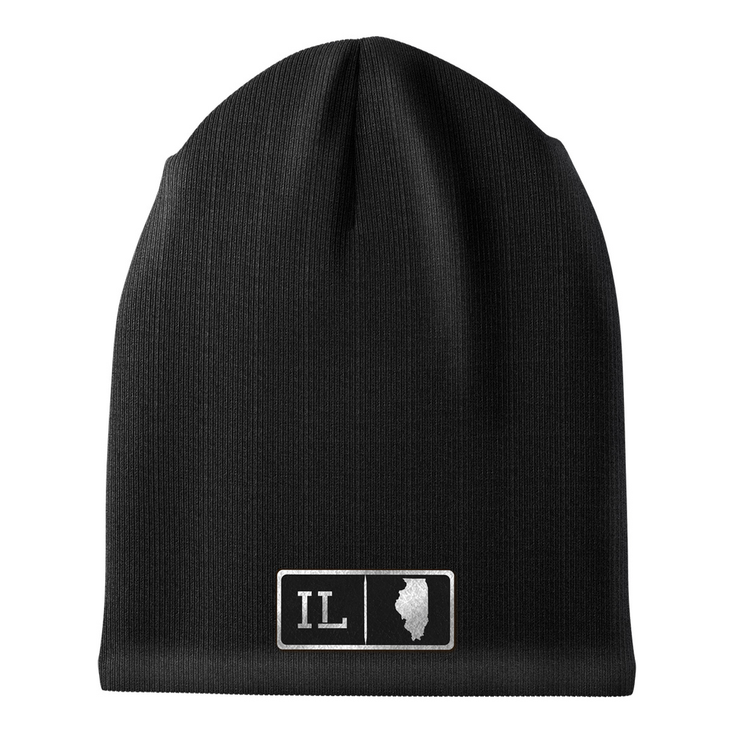 Illinois Black Leather Patch Homegrown Beanie