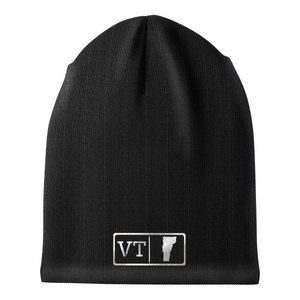 Vermont Black Leather Patch Homegrown Beanie
