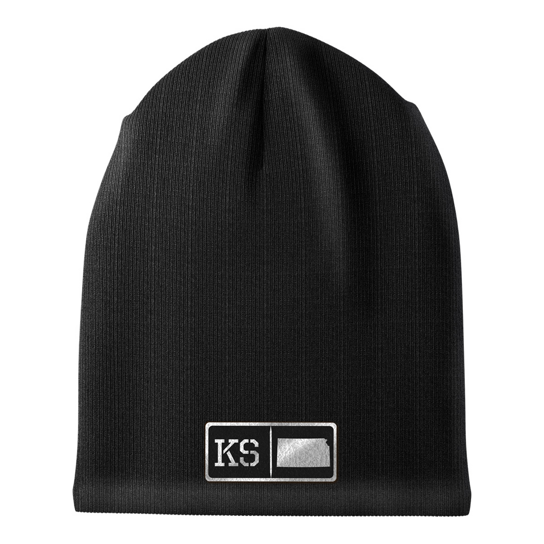 Kansas Black Leather Patch Homegrown Beanie
